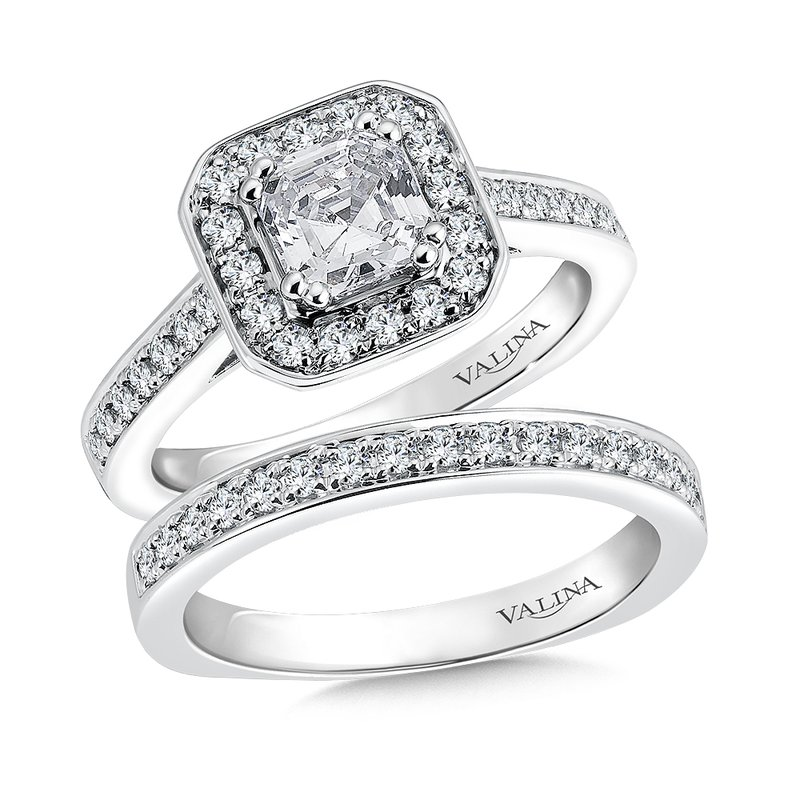 Valina Bridals Geometric shape halo mounting  .35 ct. tw.,  1 ct. Asscher cut center.