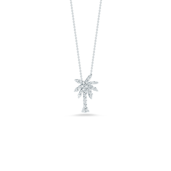 Small Palm Tree Pendant With Diamonds &Ndash; 18K White Gold