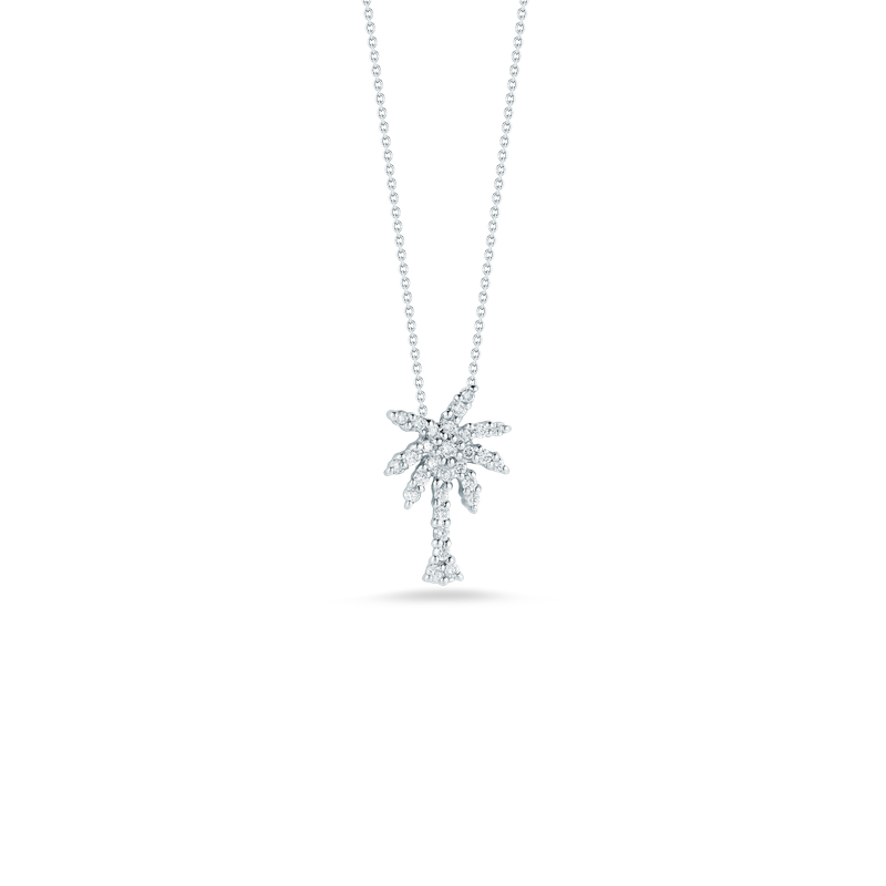 Roberto Coin Small Palm Tree Pendant With Diamonds &Ndash; 18K White Gold