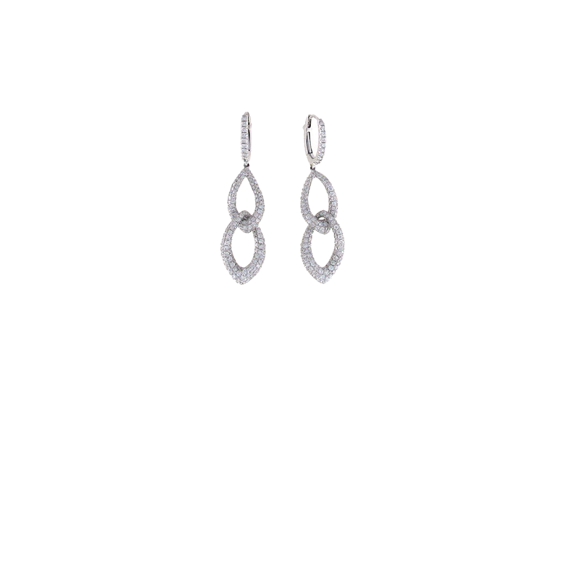 Roberto Coin 18KT WHITE GOLD DIAMOND DROP EARRIGNS
