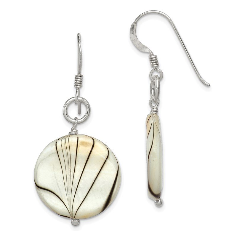 Quality Gold Sterling Silver Zebra Print Mother of Pearl Disc Earrings