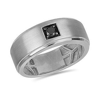 14K WG Black Solitaire Diamond Men's Ring in Prong Setting and Brush Finish