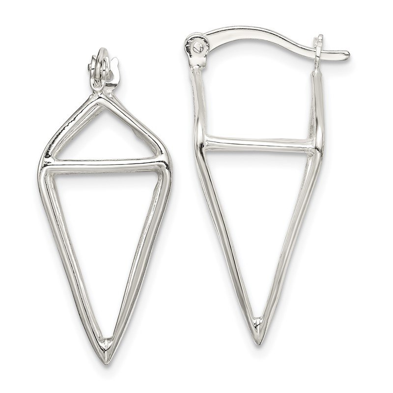Quality Gold Sterling Silver 3D Triangle Hoop Earrings