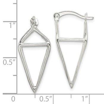 Sterling Silver 3D Triangle Hoop Earrings