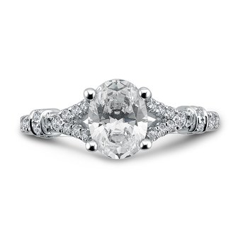Oval Center Split Shank Engagement Ring in 14K White Gold (2ct. tw.)