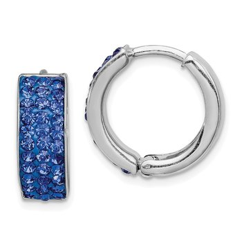 Sterling Silver RH-plated Blue Preciosa Crystal Hinged Hoop Earrings