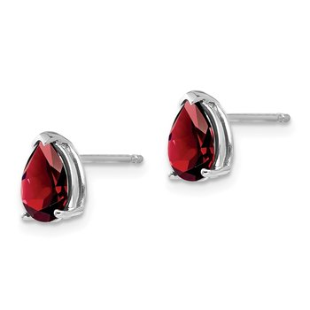 14k White Gold 7x5mm Pear Garnet Earrings