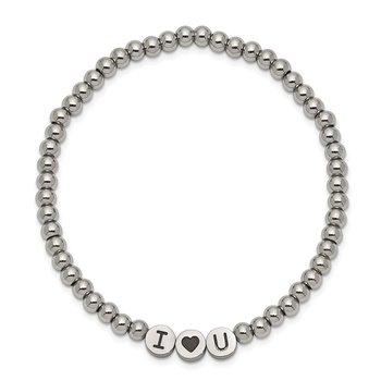 Stainless Steel Antiqued and Polished I HEART U Stretch Bracelet