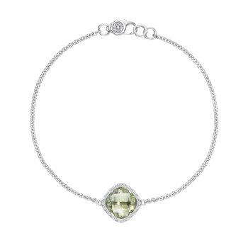 Solitaire Cushion Gem Bracelet with Prasiolite