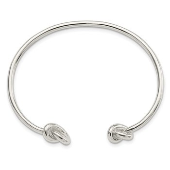 Sterling Silver Polished Knotted Ends Cuff Bangle