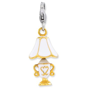 Sterling Silver Enameled 3-D Gold Plated Lamp w/Lobster Clasp Charm