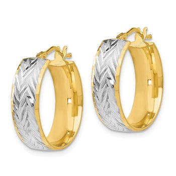 Leslie's 14K w/Rhodium Polished and D/C Hoop Earrings