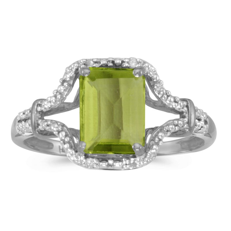 Color Merchants 10k White Gold Emerald-cut Peridot And Diamond Ring