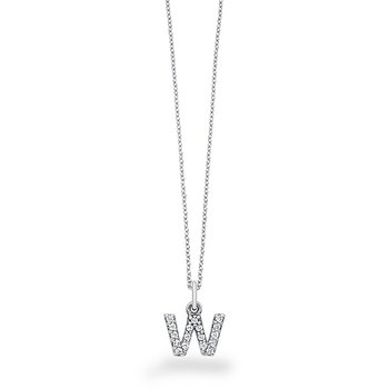 "Diamond Baby Block Initial ""W"" Necklace in 14k White Gold with 17 Diamonds weighing .14ct tw."