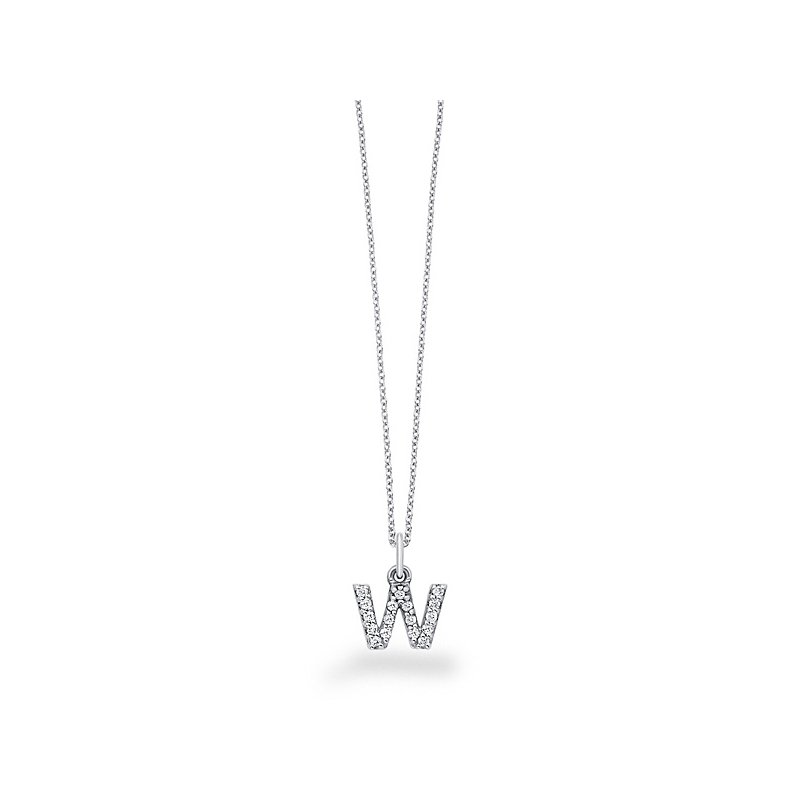 "KC Designs Diamond Baby Block Initial ""W"" Necklace in 14k White Gold with 17 Diamonds weighing .14ct tw."