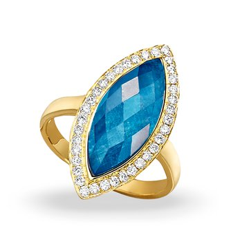 Laguna Marquise Shape Halo Ring 18KY