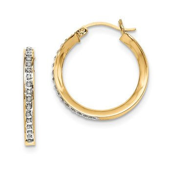 Sterling Silver Gold-plated Dia Mystique Round Hinged Hoop Earrings