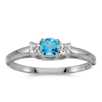 10k White Gold Round Blue Topaz And Diamond Ring