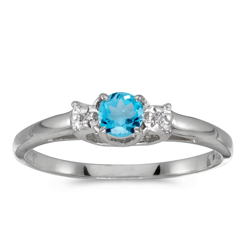 Color Merchants 10k White Gold Round Blue Topaz And Diamond Ring