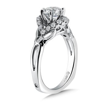 Modernistic Collection Six-Prong Engagement Ring With Diamond Side Stones in 14K White Gold with Platinum Head (1ct. tw.)