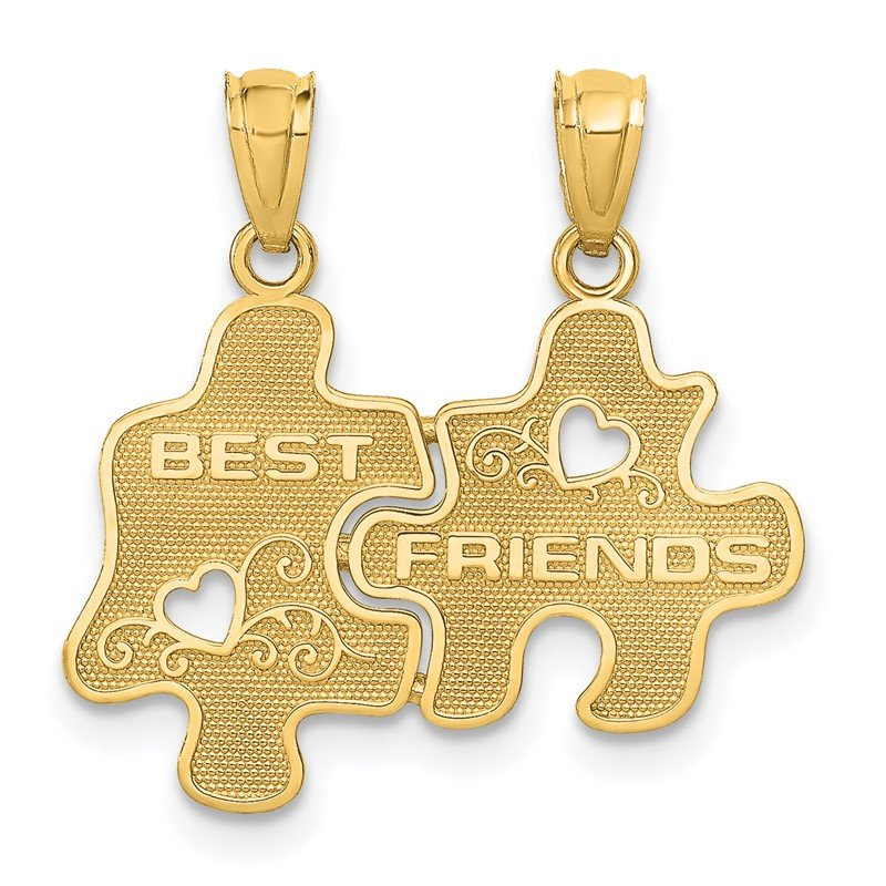 Fine Jewelry by JBD 14k BEST FRIENDS Puzzle Pieces Break-apart Pendant
