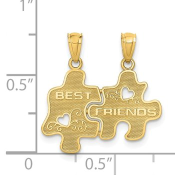 14k BEST FRIENDS Puzzle Pieces Break-apart Pendant
