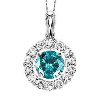 14K Blue & White Diamond Rhythm Of Love Pendant 2 ctw ( Blue Center)