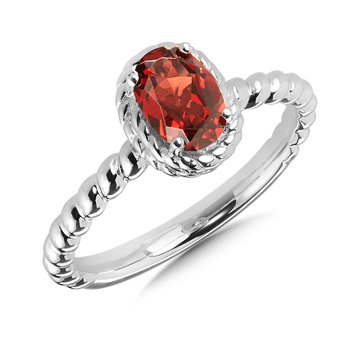 Garnet Ring in Sterling Silver