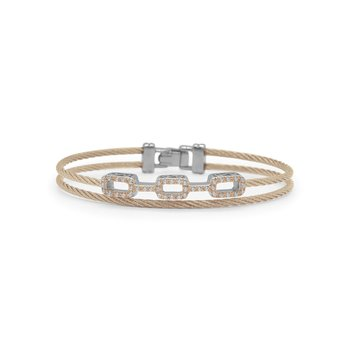 Carnation Cable Petite Layered Links Bracelet with 18kt Rose Gold & Diamonds