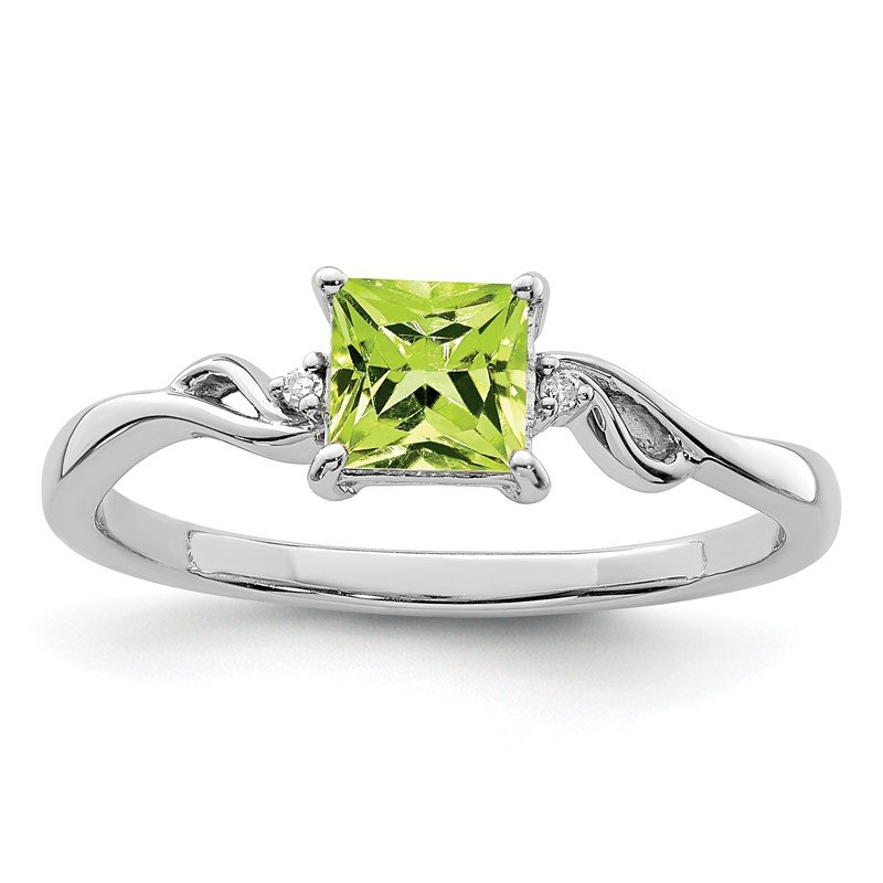 JC Sipe Essentials Sterling Silver Rhodium Plated Diamond & Peridot Square Ring