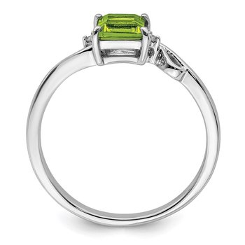 Sterling Silver Rhodium Plated Diamond & Peridot Square Ring