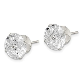 Sterling Silver 10mm Round Snap Set Laser-cut CZ Stud Earrings