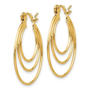 14k Polished Circles Hoop Earrings