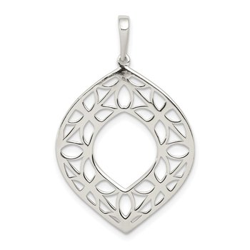Sterling Silver Polished Filigree Pendant