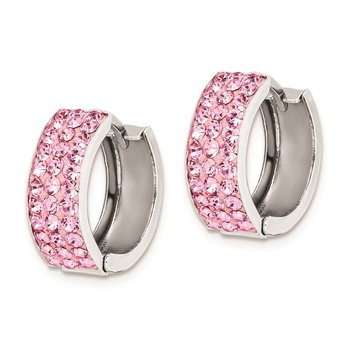 Sterling Silver RH-plated Pink Preciosa Crystal Hinged Hoop Earrings