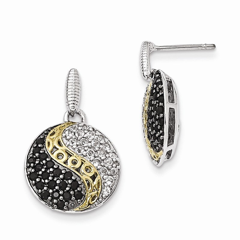 Shey Couture Sterling Silver & Gold-plated Blk Rhodium White Topaz & Onyx Earrings