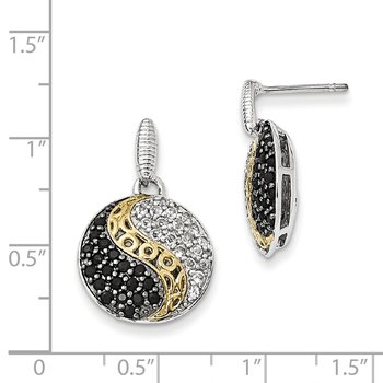 Sterling Silver & Gold-plated Blk Rhodium White Topaz & Onyx Earrings
