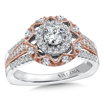 Halo Engagement Ring Mounting in 14K White/Rose Gold (.45 ct. tw.)