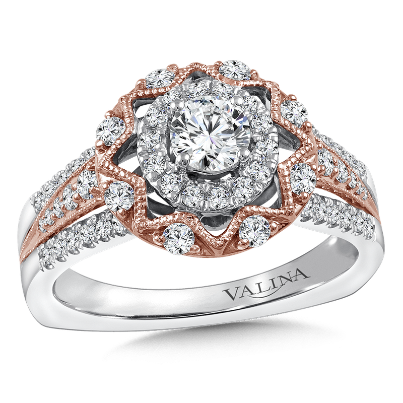 Valina Halo Engagement Ring Mounting in 14K White/Rose Gold (.45 ct. tw.)