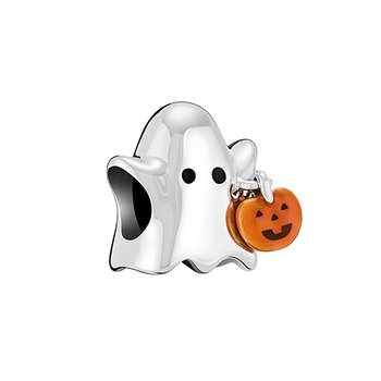 TRICK OR TREAT GHOST - Sterling Silver w Orange and Black Enamel