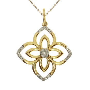 14k Yellow Gold  Fashion Diamond Flower Pendant
