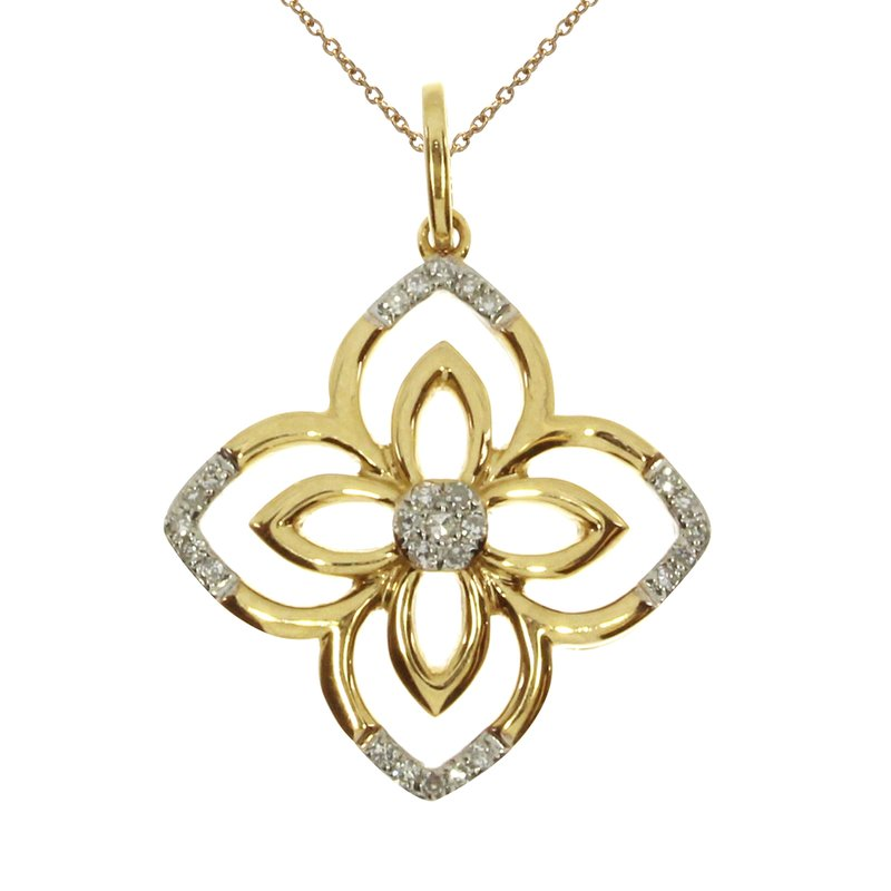 Color Merchants 14k Yellow Gold  Fashion Diamond Flower Pendant