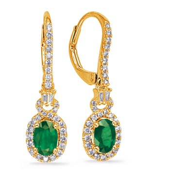 Yellow Gold Emerald & Diamond Earring