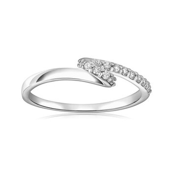 Rhodium Plated Silver, Ribbon Ring, Cubic Zirconia