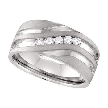 10kt White Gold Mens Round Channel-set Diamond Matte Wedding Band Ring 1/4 Cttw