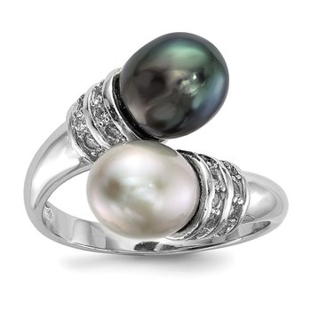 Sterling Silver RH 7-8mm Black/Grey Rice FWC Pearl CZ Ring
