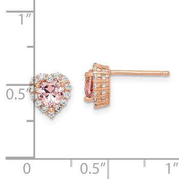 Sterling Silver Rose-plated Post CZ and Crystal Pink Heart Earrings