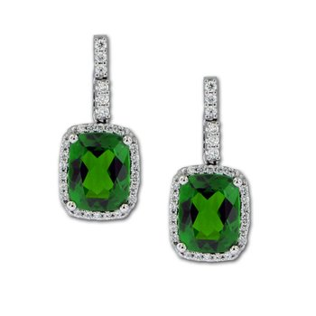 Chrome Diopside & Diamond Dangles