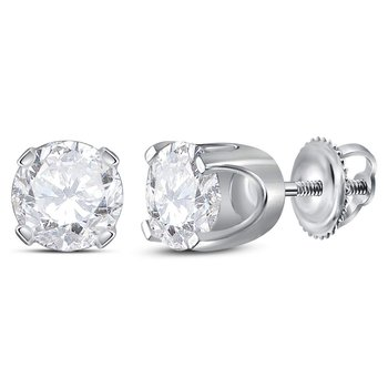 14kt White Gold Unisex Round Diamond Solitaire Stud Earrings 1-3/8 Cttw