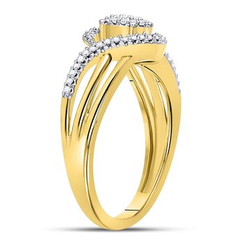 10kt Yellow Gold Womens Round Diamond Circle Cluster Strand Ring 1/6 Cttw